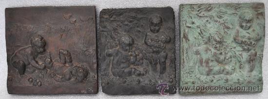 INTERESANTE LOTE DE 3 PLAFONES DE AMORCILLOS EN RESINA PATINADA DE LOS AÑOS 40 (Arte - Escultura - Resina)