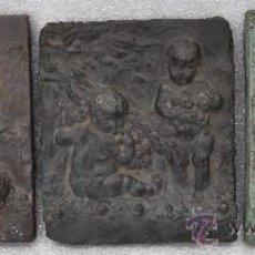 Arte: INTERESANTE LOTE DE 3 PLAFONES DE AMORCILLOS EN RESINA PATINADA DE LOS AÑOS 40. Lote 28847318