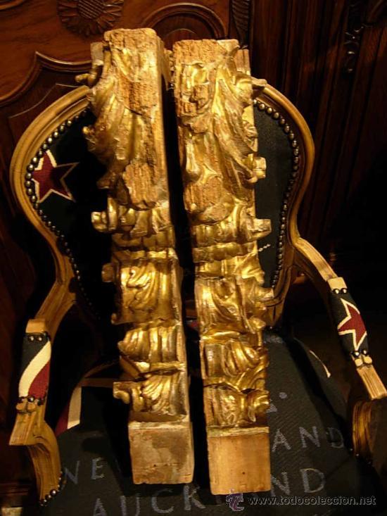 Arte: FANTASTICAS MENSULAS O COLUMNAS DORADAS DE MADERA DEL XVIII - Foto 4 - 29141532