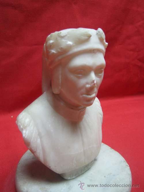 Arte: Busto de DANTE, realizado en alabastro, sobre base de marmol. - Foto 2 - 29381874