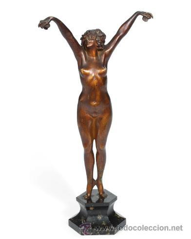 'ANDALUZA' CLAIRE JEANNE ROBERT COLINET . ESCULTURA DE BRONCE PATINADA EN FRÍO . 1920 . FIRMADA (Arte - Escultura - Bronce)