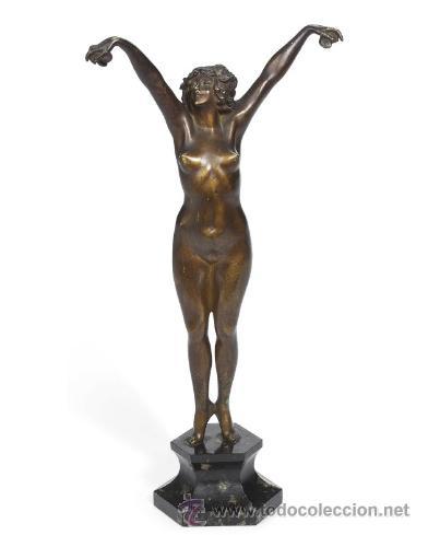 Arte: ANDALUZA CLAIRE JEANNE ROBERT COLINET . Escultura de bronce patinada en frío . 1920 . Firmada - Foto 4 - 29512232