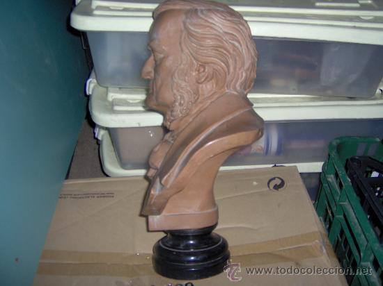 Arte: Busto de Wagner TAMAÑO NATURAL Grande 38 x 26 cm. TESINA SOBRE PEANA FORMADO M.Ten - Foto 2 - 29645443