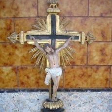 Arte: ESCULTURA DE CRISTO EN MADERA POLICROMADO DEL 1800. Lote 30617282