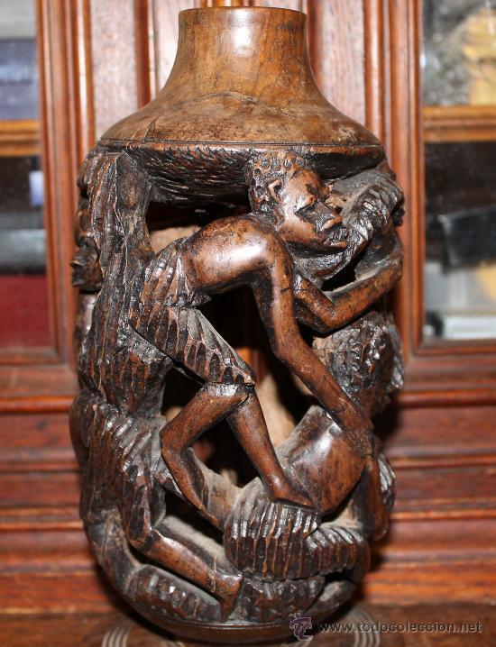 Arte: MAGNIFICO PIE DE LAMPARA EN MADERA AFRICANA TALLADA A MANO REPRESENTANDO FIGURAS HUMANAS - Foto 2 - 30642975