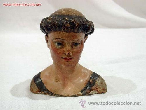 ANTIGUO BUSTO S.XVIII. SAN ANTONIO. TALLADO CON OJOS DE CRISTAL (Arte - Escultura - Madera)