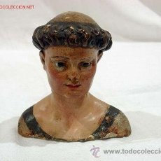 Arte: ANTIGUO BUSTO S.XVIII. SAN ANTONIO. TALLADO CON OJOS DE CRISTAL. Lote 31126471