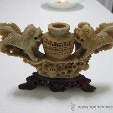 Arte: PRECIOSA TALLA FIGURA CHINA EN PIEDRA DE JABÓN CON CALADO PERROS ANFORA 10,5 X 16 CM.. Lote 31870423