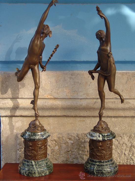 PAREJA DE BRONCES:VENUS Y MERCURIO (Arte - Escultura - Bronce)