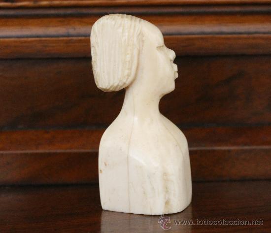 TALLA EN HUESO O MARFIL BUSTO DE MUJER AFRICANA TALLA A MANO EN UNA SOLA PIEZA (Arte - Escultura - Marfil)