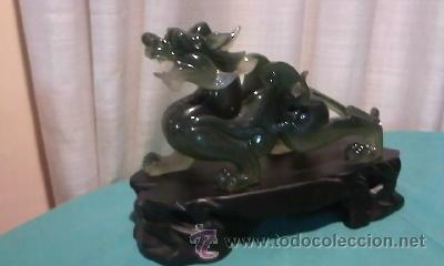 Arte: Espectacular dragón chino en resina verde. No le falta detalle. - Foto 4 - 36668390