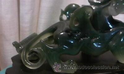 Arte: Espectacular dragón chino en resina verde. No le falta detalle. - Foto 8 - 36668390