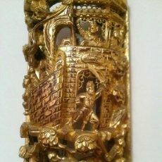Arte: ESPECTACULAR TALLA EN MADERA CON BAÑO PAN DE ORO GUERREROS JAPONESES. Lote 36636033