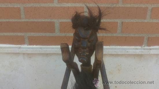 Arte: GRAN TALLA AFRICANA TRES CUERPOS EN MADERA CON PELO - Foto 3 - 37860654