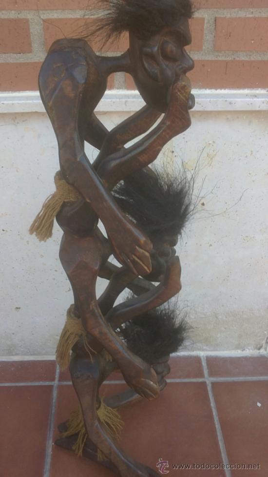 Arte: GRAN TALLA AFRICANA TRES CUERPOS EN MADERA CON PELO - Foto 2 - 37860654