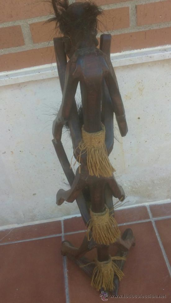 Arte: GRAN TALLA AFRICANA TRES CUERPOS EN MADERA CON PELO - Foto 5 - 37860654