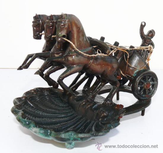 FIGURA ANTIGUA CUADRIGA METAL PLATA PATINADO BRONCE O COBRE CABALLOS SOBRE CONCHA Y HERRADURA (Arte - Escultura - Bronce)