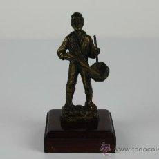 Arte: TAMBORILERO EN BRONCE - GRAN DETALLISMO - PEANA DE MADERA - PRINC. DEL S.XX. Lote 38088242