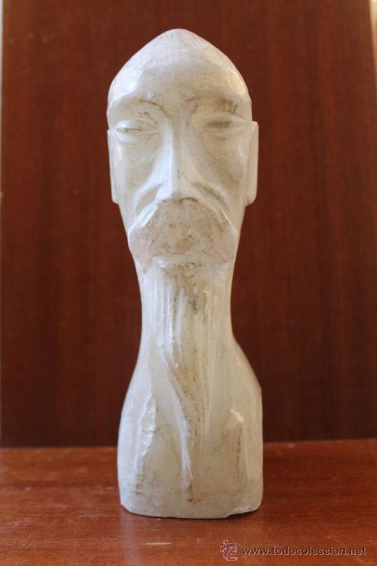 ANTIGUA ESCULTURA TALLA DE BUSTO CHINO EN ALABASTRO (Arte - Escultura - Alabastro)