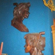 Arte: PAREJA DE CARAS TALLADAS EN MADERA, DE GRAN CALIDAD.. Lote 27392082
