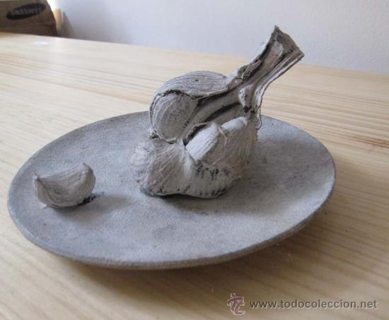 Arte: Bodegón bronce plato con ajos Rafael Muyor - Foto 2 - 38176679