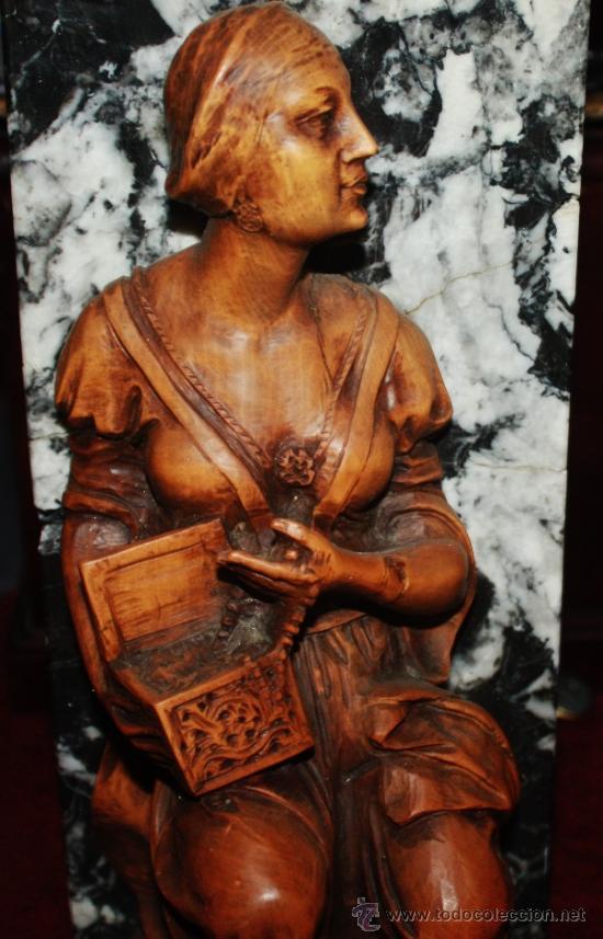 TALLA EN MADERA DE BOJ-FINALES DEL SIGLO XIX,PODRIA SER DULCINEA DEL TOBOSO (Arte - Escultura - Madera)