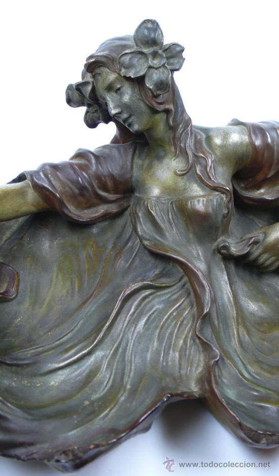 Arte: ninfa modernista en terracota 1900's. 56 cm de largo total x 15cm de alto, . - Foto 10 - 39144044