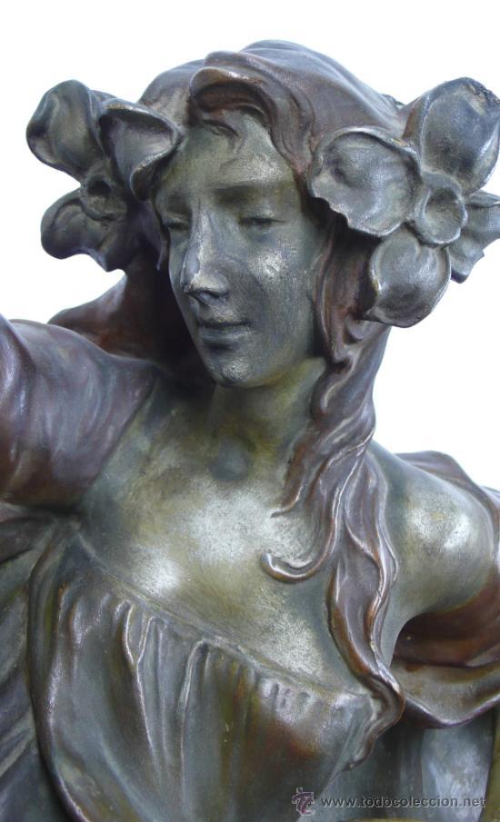 Arte: ninfa modernista en terracota 1900's. 56 cm de largo total x 15cm de alto, . - Foto 8 - 39144044