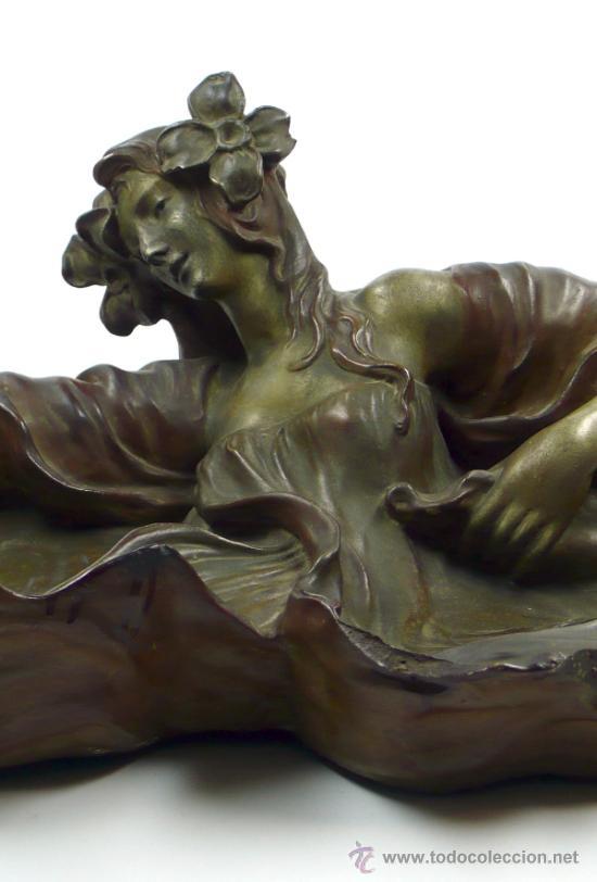 Arte: ninfa modernista en terracota 1900's. 56 cm de largo total x 15cm de alto, . - Foto 7 - 39144044