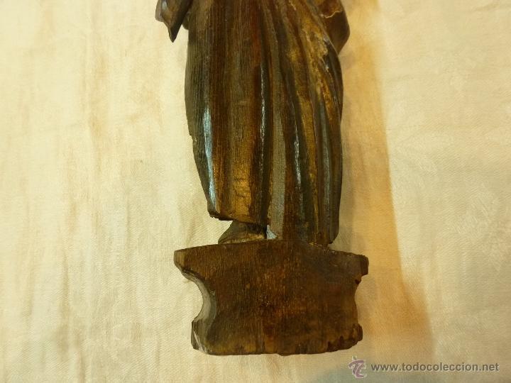 Arte: antigua talla de madera santo - Foto 4 - 39633293