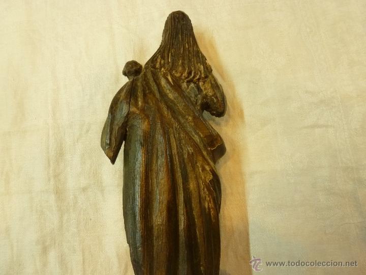 Arte: antigua talla de madera santo - Foto 5 - 39633293