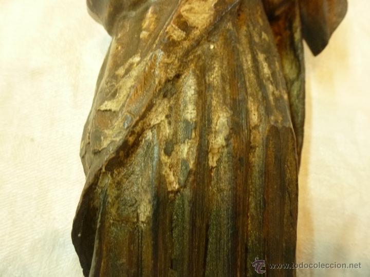 Arte: antigua talla de madera santo - Foto 6 - 39633293