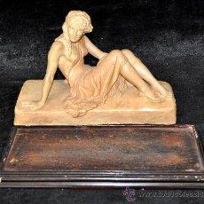 Arte: GRAN FIGURA EN TERRACOTA, FIRMADA BISCARRI CUYAS. CIRCA 1940. Lote 40289248