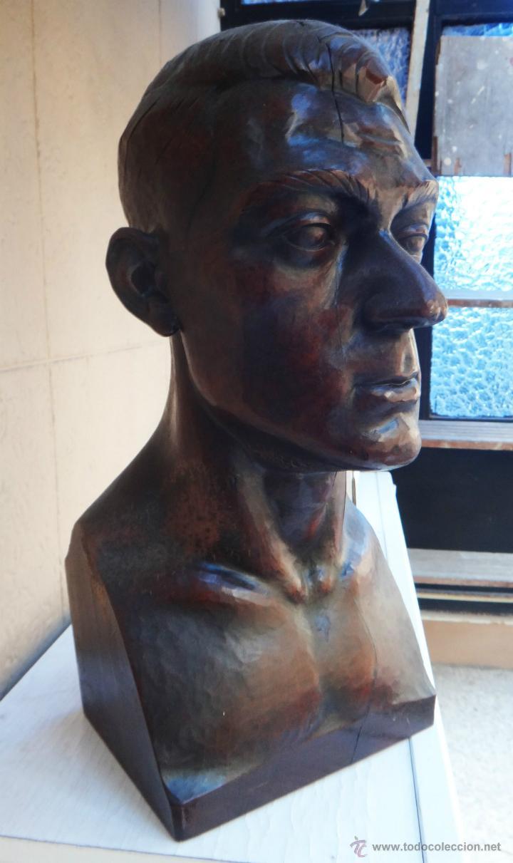 IMPRESIONANTE ESCULTURA BUSTO, ALFONSO GABINO ,MADERA NOBLE, A MARTINEZ, CLUB TAURINO VALENCIA 1930 (Arte - Escultura - Madera)