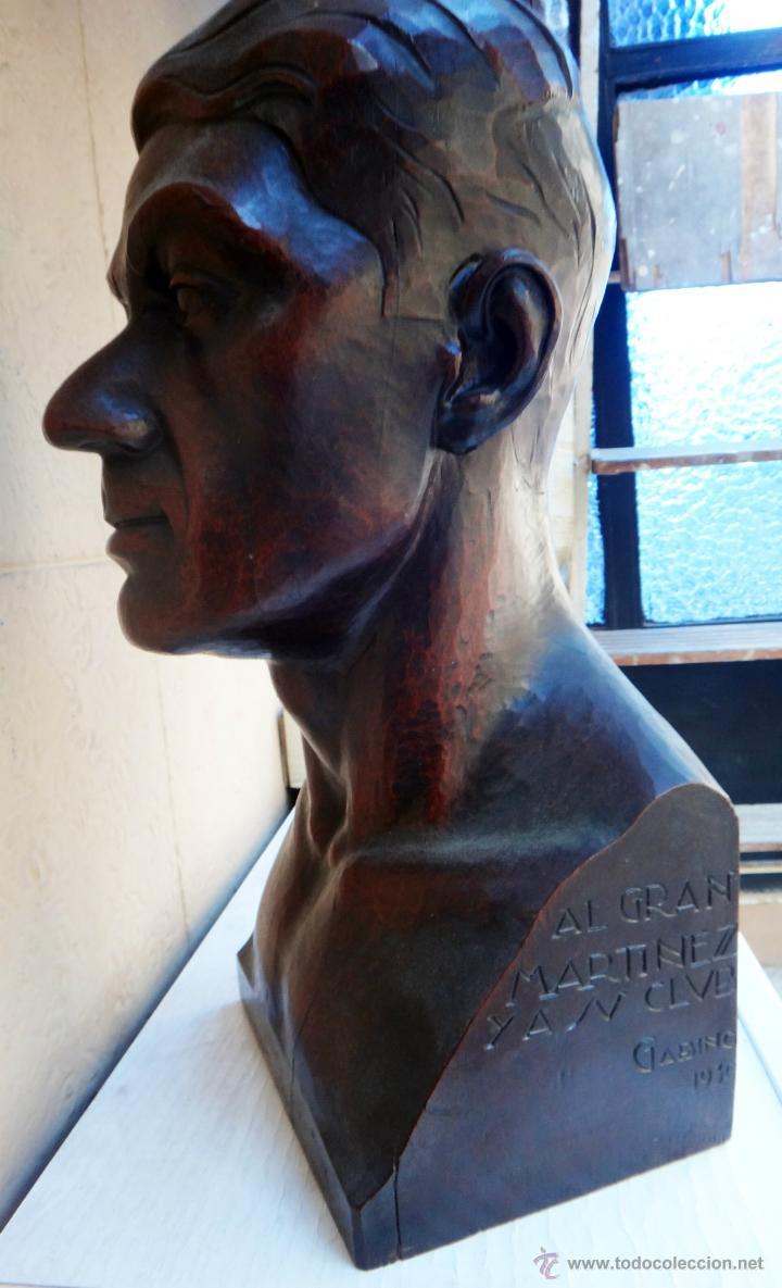 Arte: IMPRESIONANTE ESCULTURA BUSTO, ALFONSO GABINO ,MADERA NOBLE, A MARTINEZ, CLUB TAURINO VALENCIA 1930 - Foto 3 - 40322566