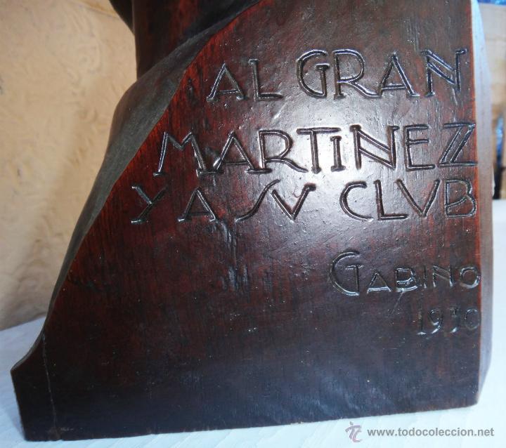 Arte: IMPRESIONANTE ESCULTURA BUSTO, ALFONSO GABINO ,MADERA NOBLE, A MARTINEZ, CLUB TAURINO VALENCIA 1930 - Foto 4 - 40322566