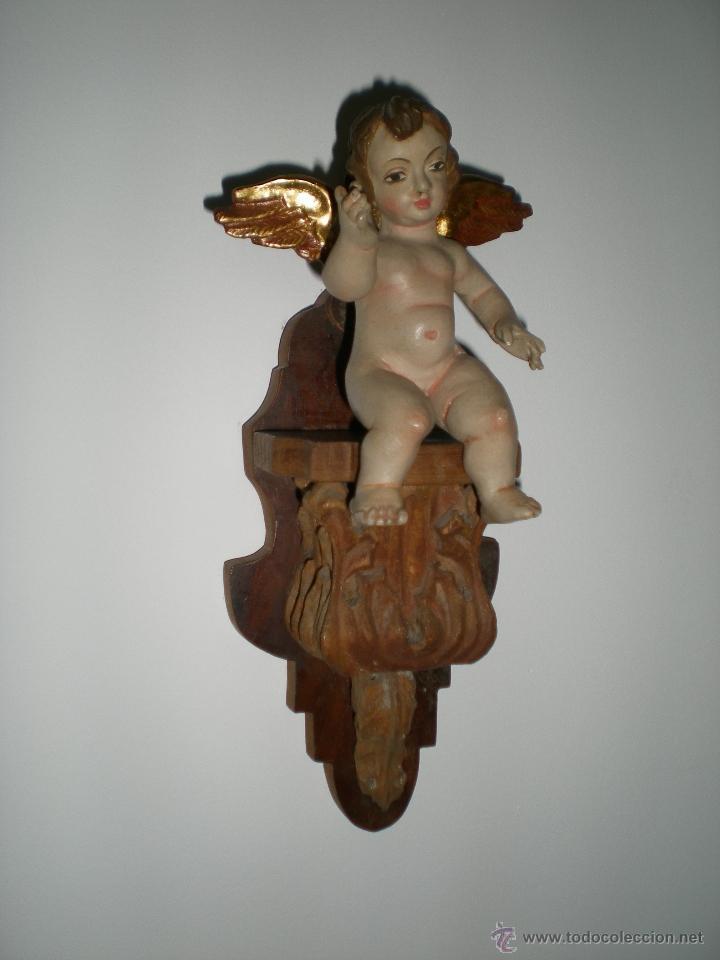 Arte: PAREJA DE ANGELITOS DE TALLA Y POLICOMÍA - Foto 2 - 40641255