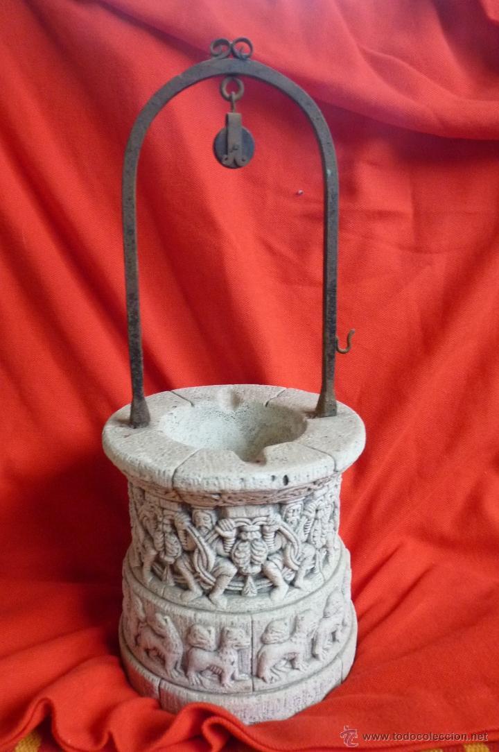 BONITA PIEZA A ESCALA, BROCAL DE POZO EN PIEDRA CON RELIEVES (Arte - Escultura - Piedra)