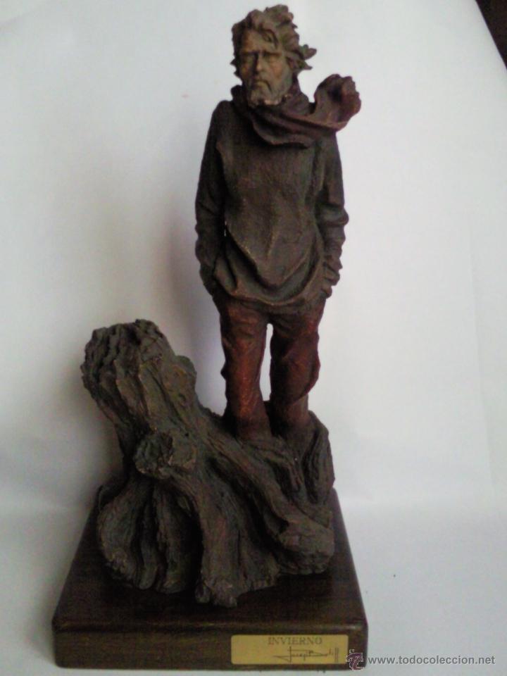 ESCULTURA JOSEP BOFILL, TITULADA INVIERNO, EN RESINA POLICROMADA, FIRMADA Y NUMERADA (Arte - Escultura - Resina)