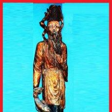Arte: GRAN FIGURA, TALLA ORIENTAL S. XVIII.TALLA EN TRONCO DE ARBOL DE UNA SOLA PIEZA, POLICROMADA.144 CM.. Lote 41252271