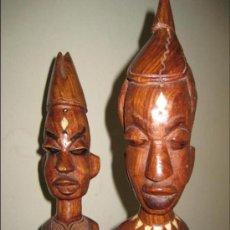 Arte: ESCULTURAS O FIGURAS DE MADERA AFRICANAS TALLADAS A MANO .MADERA MAZIZA.. Lote 29205591