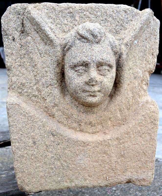 MAGNIFICO QUERUBIN EN GRANITO. S. XVIII. (Arte - Escultura - Piedra)