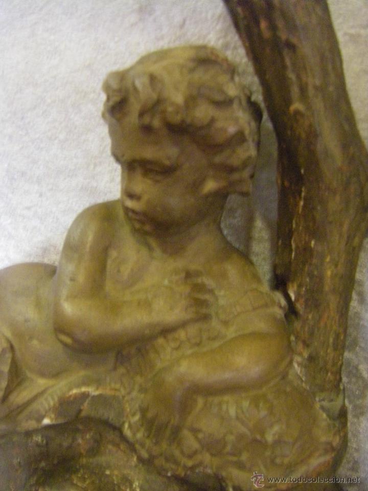 Arte: Escultura de madera con niño, para base de lámpara finales del siglo XIX - Foto 3 - 41687538