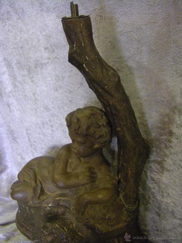 Arte: Escultura de madera con niño, para base de lámpara finales del siglo XIX - Foto 6 - 41687538