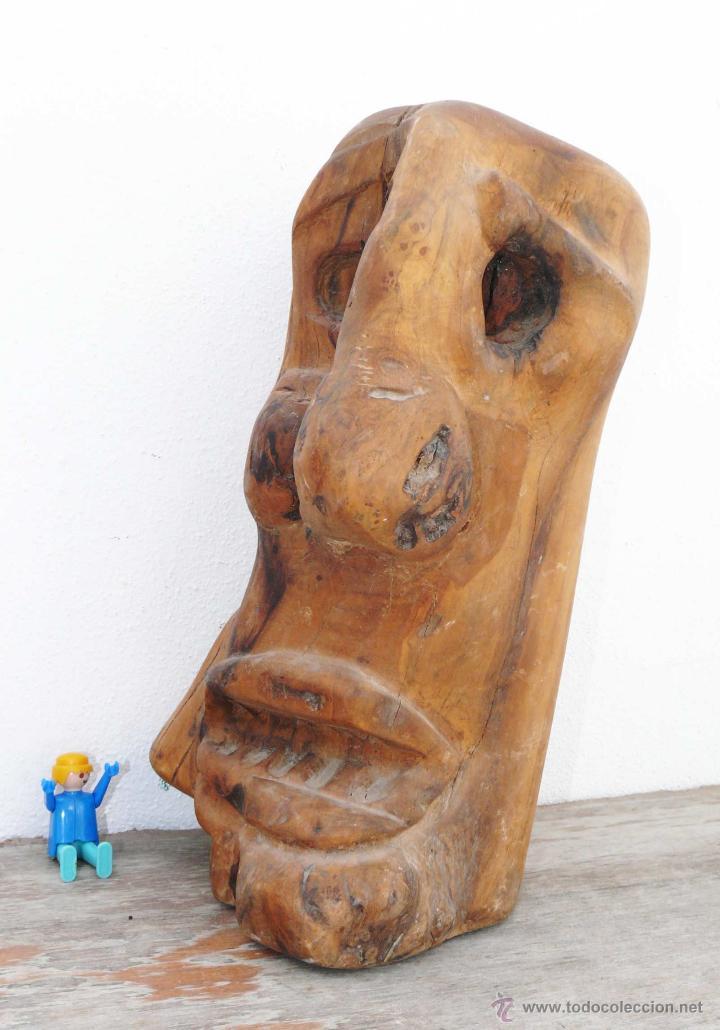 antigua y alucinante escultura talla en madera abstracta muy rara