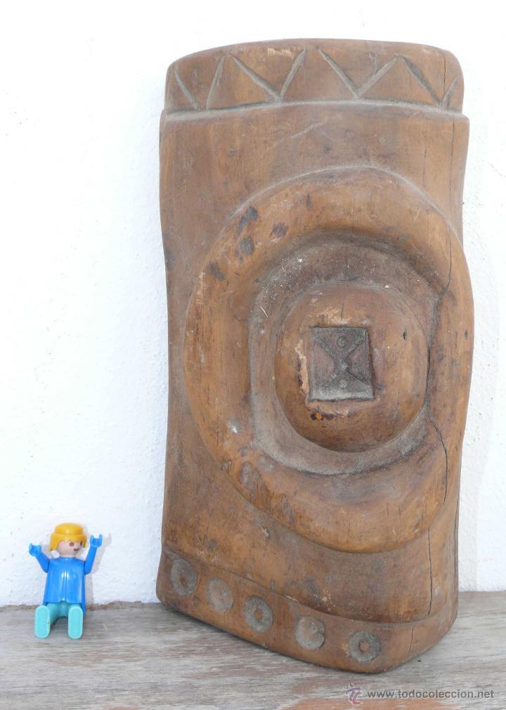 ANTIGUA Y ALUCINANTE ESCULTURA TALLA EN MADERA ABSTRACTA MUY RARA! AFRICANA AZTECA ? (Arte - Escultura - Madera)