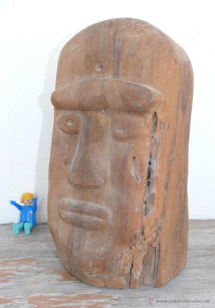 ESCULTURA ANTIGUA TALLADA EN MADERA MUY DURA, RARA, AFRICANA O TIPO AZTECA - INCA ? (Arte - Escultura - Madera)