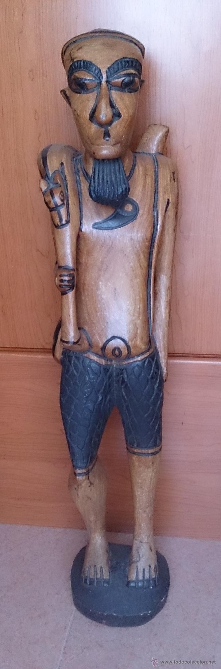 Arte: Gran talla indígena en madera maciza ( 91,5 CM DE ALTO ) . - Foto 2 - 43242684