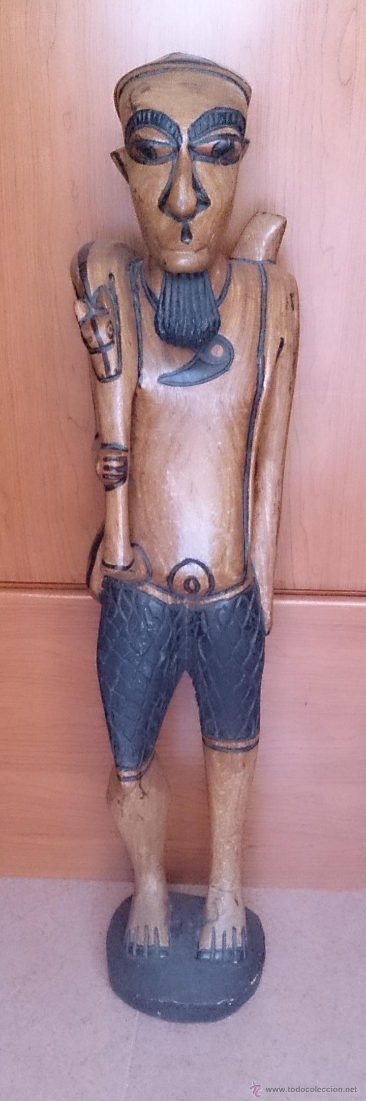 Arte: Gran talla indígena en madera maciza ( 91,5 CM DE ALTO ) . - Foto 8 - 43242684