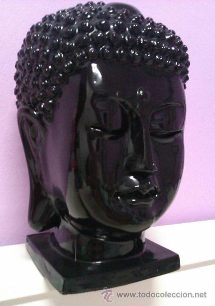 ANTIGUO BUSTO CABEZA ESCULTURA DE BUDA THAILANDIA AÑOS 60 / 70 TAMAÑO GRANDE 28CM (Arte - Escultura - Resina)